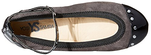 Abbey Ankle Flat Grey Women's Black Samra Yosi Strap Ballet Dark with waSqHCq