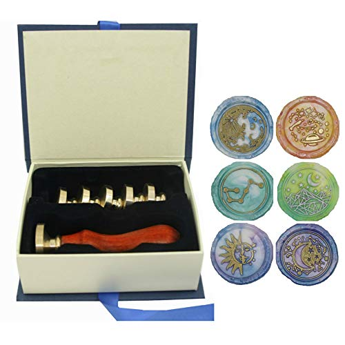 Moon Wax Seal Stamp Set, VIHOME 6 Pieces Star Planet Sun Big Dipper Sealing Wax Stamps Copper Seals + 1 Wooden Hilt (Moon+Star+Sun+Planet+Dipper Stamp Kit) (Moon Wax Seal Stamp)