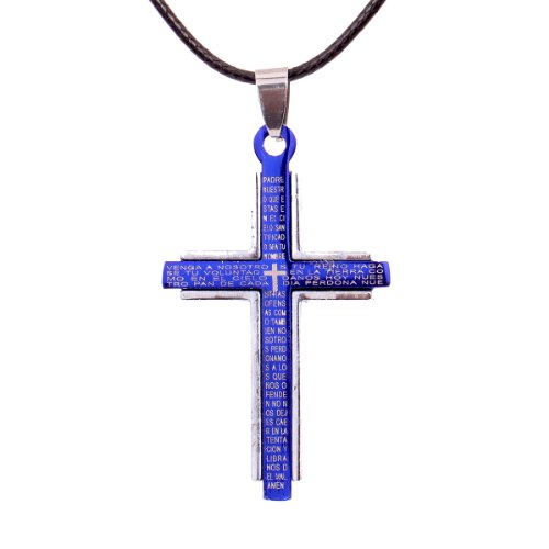 yazilind-silver-blue-cross-stainless-steel-lords-prayer-cross-pendant-necklace-pu-leather