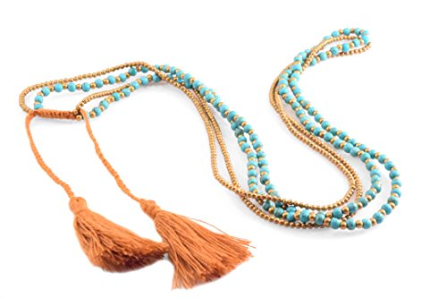 Turquoise Tassel Strand Necklace and Bracelet Gold Beads Brown Cotton Strings Long Statement Fashion Jewelry