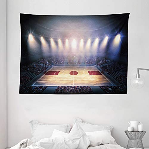 Ambesonne Basketball Tapestry, Crowded Basketball Arena Just Before Game Starts School Tournament Theme, Wide Wall Hanging for Bedroom Living Room Dorm, 80 X 60 , Beige Brown