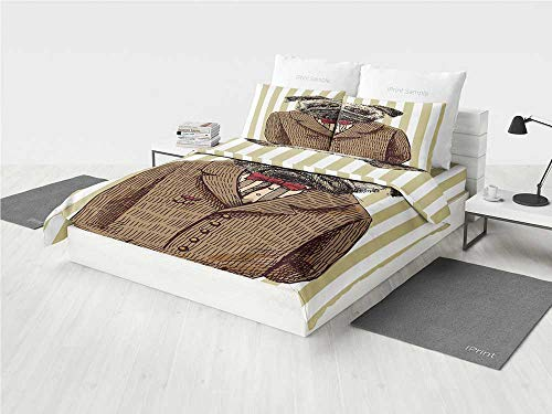 - Pug LOL Twin Bedding Set Hand Drawn Sketch of Smart Dressed Dog Jacket Shirt Bow Suit Striped Background Decorative Printing Four Pieces of Bedding Set Brown Pale Brown