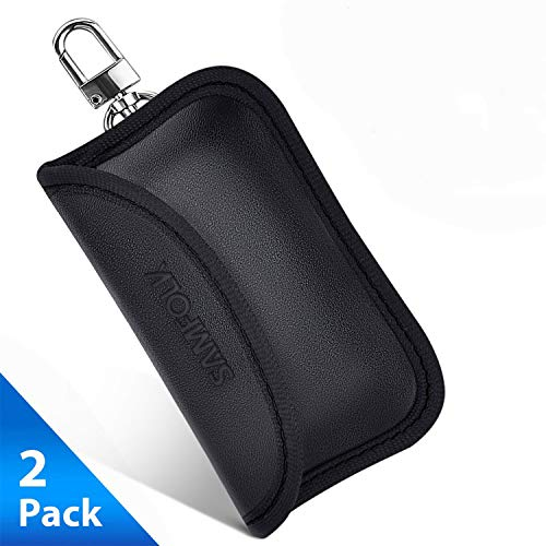 Samfolk Mini Faraday Bag, Signals Blocking Pouch for Car Key FOB, Anti-Theft Keyless Entry Car Key Protector, Smart Car Key FOB Holder (2 Pack)