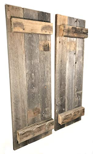Barn Wood Rustic Decorative Shutter Set of 2 -