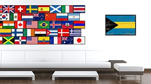 Amazon Com Bahamas National Country Flag Shabby Chic Canvas