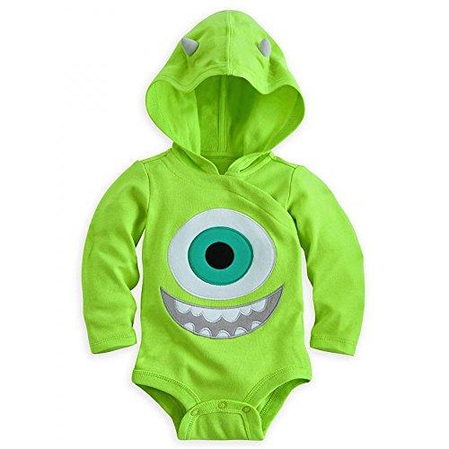 Disney Store Mike Wazowski Costume Bodysuit Hoodie Hooded Size 6-9 Months]()