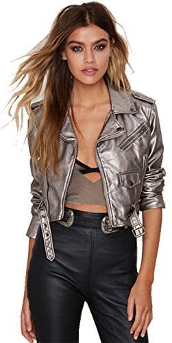Shiny Metallic Silver Grey Faux Leather Moto Biker Bomber Jacket Cropped Crop Top M (Peak Performance Rocker Jacket)