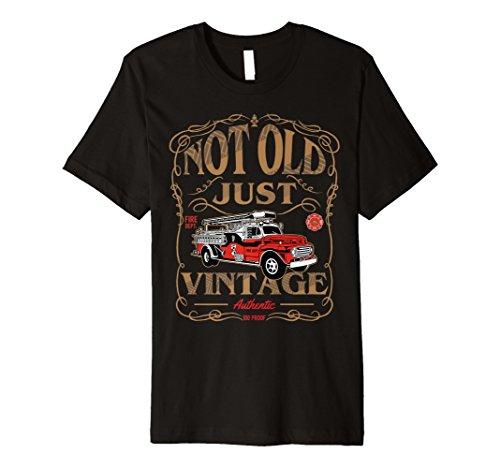 Retired Firefighter T-Shirt Gift Grandpa Antique Fire Truck