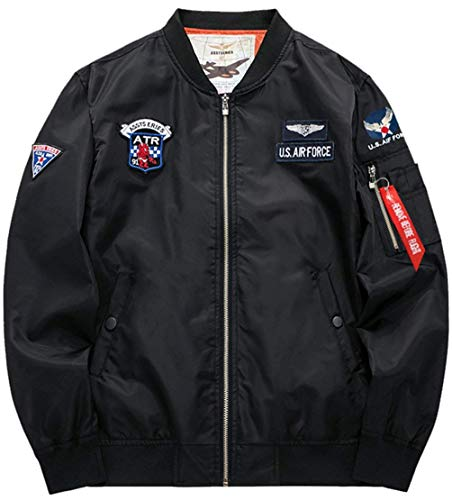 Force Classica 4 Classiche Zip Vintage schwarz M Patch Flight Ragazzi Badge A Uomo Jacket Da Bomber Air Con color Leggera Size Per Giacca Vento dq8YRxd