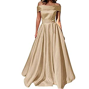 YuNuo Prom Dresses Off The Shoulder Evening Dresses Satin Beaded Party Dress A-Line Long with Pocket Formal Gown