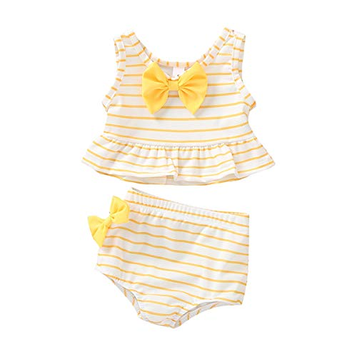 Baby Girl Bikini Striped Beach Swimsuit Ruffles Bathing Suit Adjustable Swimwear 2 Pcs Set (0-6 Months, B Yellow) ()