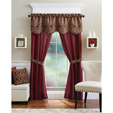 GoodGram 5 Piece Window Set, 54 x 84-Inches, Brick (Drapes Living And Valances Room)