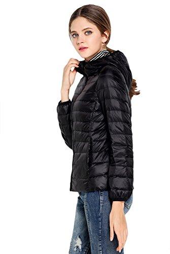 Leggera Oriental Con Piumino Black In Cappuccio Donna Ultra Giacca Vento A Imbottitura Da Pearl YxvYrqOz