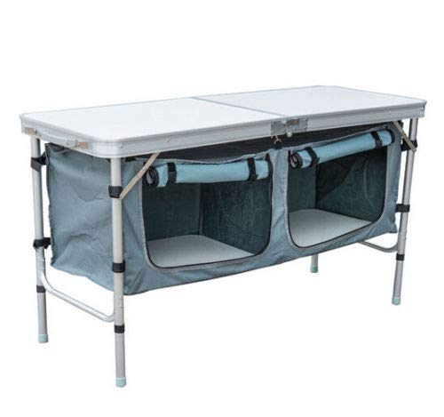 totoshop Outdoor Aluminum Camping Portable Folding Picnic Table W/Cupboard ()
