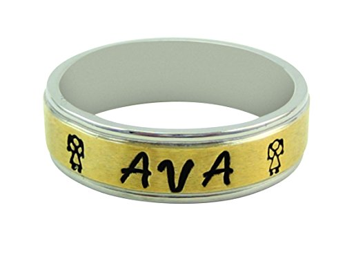 8mm hand made stainless steel ring called Fenrir stamped with your personalized message on a stunning gold plated center in size 9 for $<!--$13.99-->
