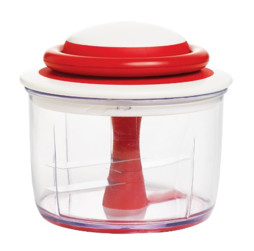 Breeze through food preparation tasks with the beautifully designed Chef'n VeggiChop Hand-Powered Food Chopper (Cherry). Chop large pieces of fruit, vegetables, boneless meats, herbs, nuts, and even ice by hand with this handy chopper. Runnin...