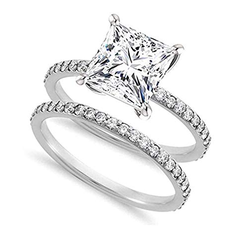 Venetia Realistic Supreme 2 Carats Princess Cut NSCD Simulated Diamond Ring Band Set 925 Silver Platinum Plate (9)