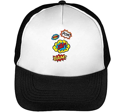 Boom Gorras Zap Blanco Beisbol Hombre Snapback Negro Pow Zw7Axvqd7