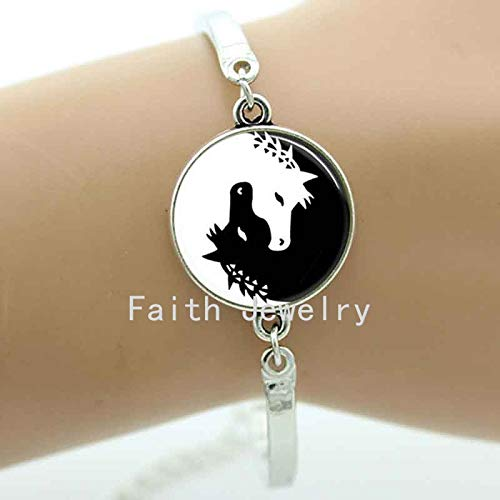 by Mct12-1 PCs Charm Bracelets Horse Bracelet Black and White Animal Jewelry Elegant and Charming Winter Style Horse Glass Photos Charms for Women B118