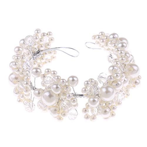 Ladies Vintage White Pearls Headband Tiara Wedding Bridal Headpiece