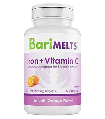 BariMelts Iron + Vitamin C, Dissolvable Bariatric Vitamins, Natural Orange Flavor, 90 Fast Melting Tablets