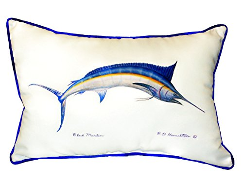 (Betsy Drake SN015 Blue Marlin Small Indoor/Outdoor Pillow, 11