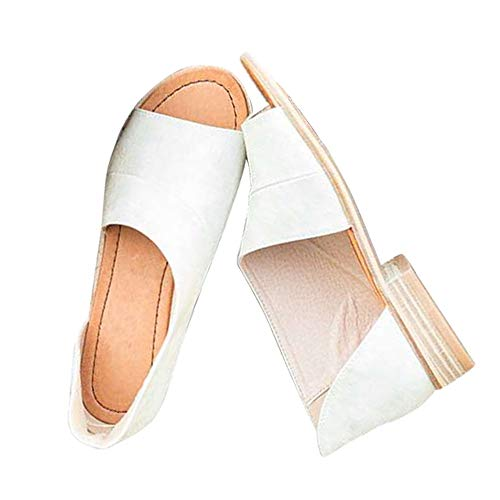 (Susanny Womens Flat Sandals Open Toe Slip on Fashion Summer Casual Shoes White 10 B (M) US)