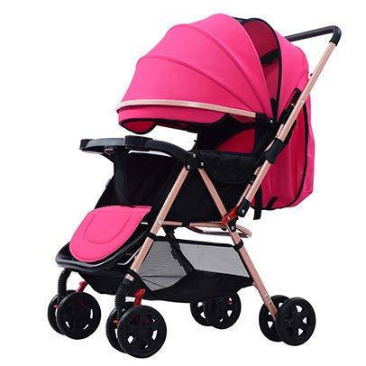 TYX Crossdresser Baby Stroller Can Sit and Lie Two-Way Baby Folding Umbrella Light Portable with Newborn Child Car,E