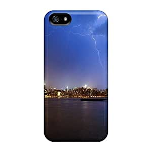 DaMMeke HqQZENn3517Ilaog Case For Sumsung Galaxy S4 I9500 Cover Protective Case Lightning Over New York