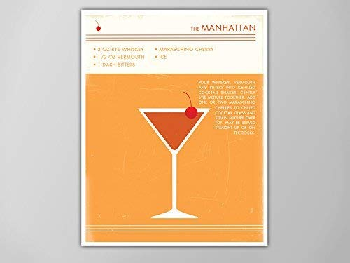 - Manhattan Cocktail Art Print, Food and Drink Poster, Vintage Style Graphic Art, Mid Century Modern Design Poster, Manhattan Cocktail Print
