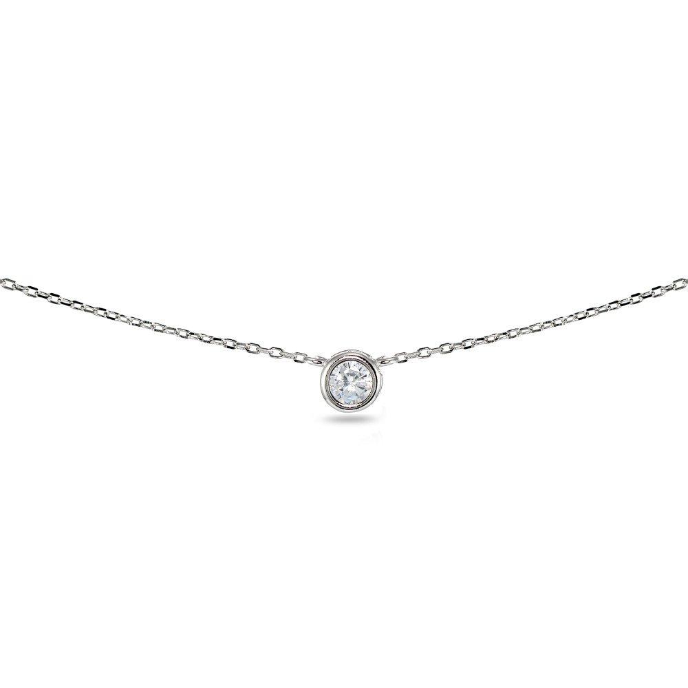 LOVVE Sterling Silver Round 4mm Bezel-Set Cubic Zirconia Solitaire Short Choker Necklace