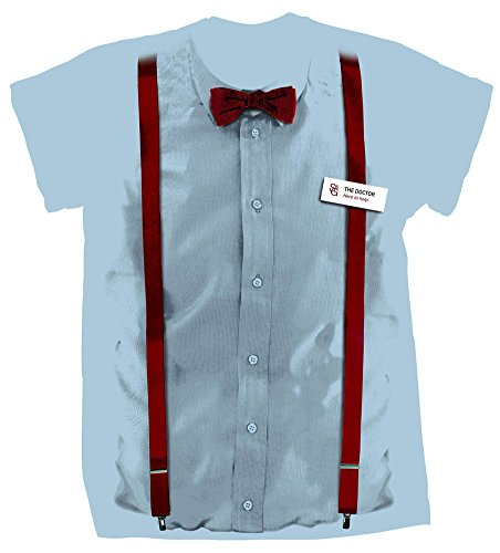 Doctor Who 11th Doctor Braces and Name Tag Costume Shirt (Medium)