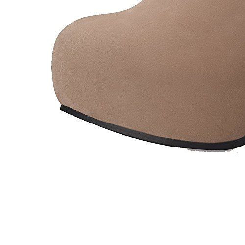 de punta Botas sólida tacón alto albaricoque AgooLar gamuza sólida y cerrada de imitación con de con ante qFWTw0