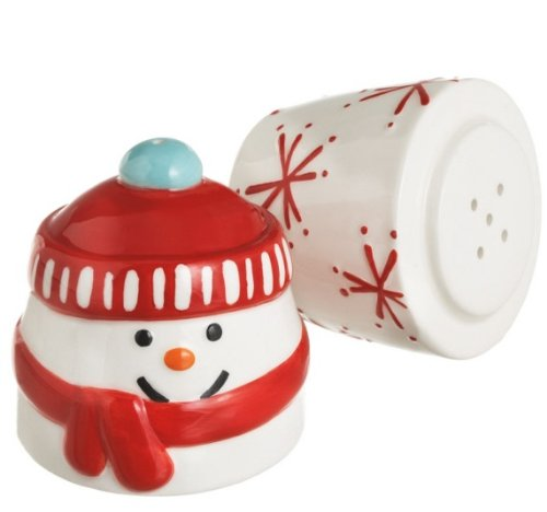 (Retro Stacking Snowman Ceramic Salt and Pepper Shakers)