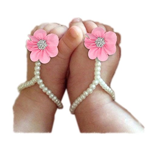 Koly 1 Par Niñito Perla Flor playa Sandalias Calcetín (Rosado) rosa