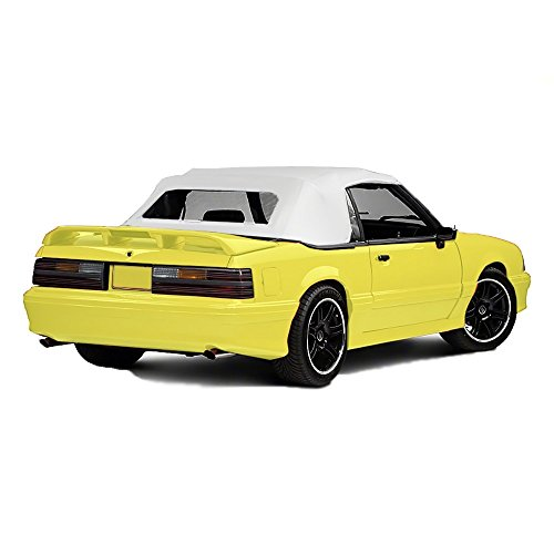 compatible with Ford Mustang 1983-1993 Convertible Soft Top & Plastic Window 1 Piece Vinyl (White) ()