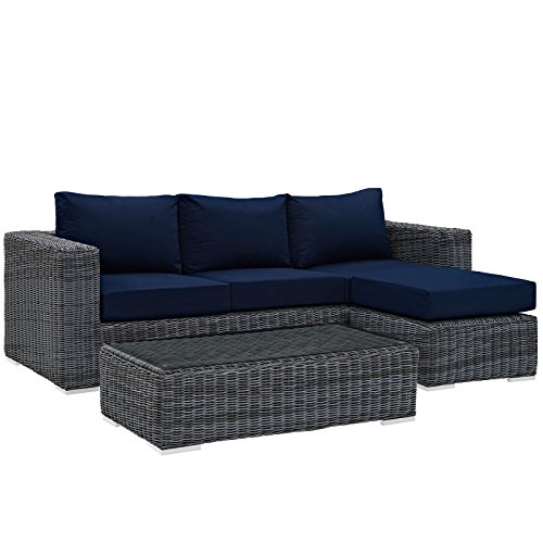Modway Summon 3 Piece Outdoor Patio Sectional Set With Sunbrella Brand Navy Canvas Cushions (Rounded Sectional Outdoor Furniture)