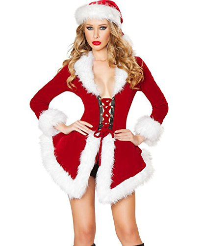 JTENGYAO Womens Sexy Jumpsuit Costume Santas Christmas Outfit Fancy Dress with Hat