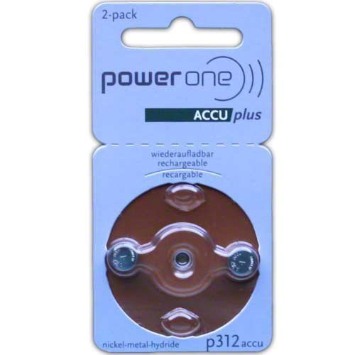PowerOne ACCU plus Size 312 Rechargeable Hearing Aid Batteries, Model: Size 312 2-Pack, Electronic Store & More ()
