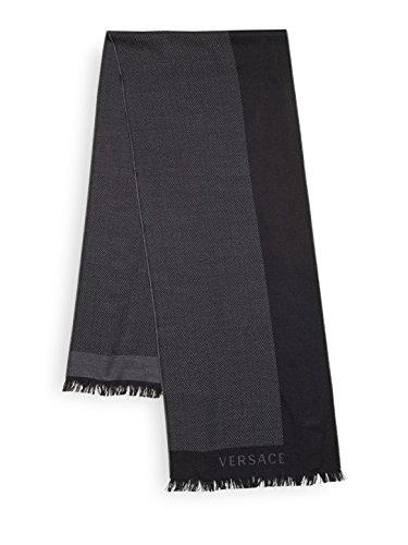 Versace Men's Herringbone Wool Scarf, OS, Black by Versace (Image #1)