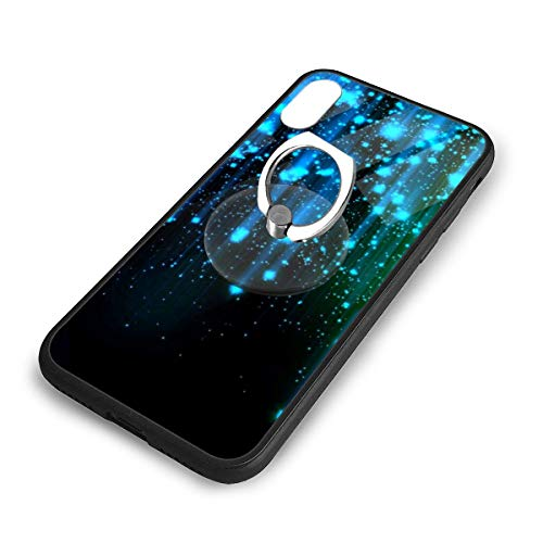 QWER1 Blue Streamer IPONE X/XS TPU Glass Mobile Phone Shell with Ring Bracket, Suitable for Apple iPhone X/XS. -