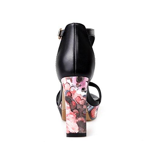 Ladies Fashion Genuine Leather Women Sandals Block Heels High Heels Pink Black Shoes Women Black 8YswnN5