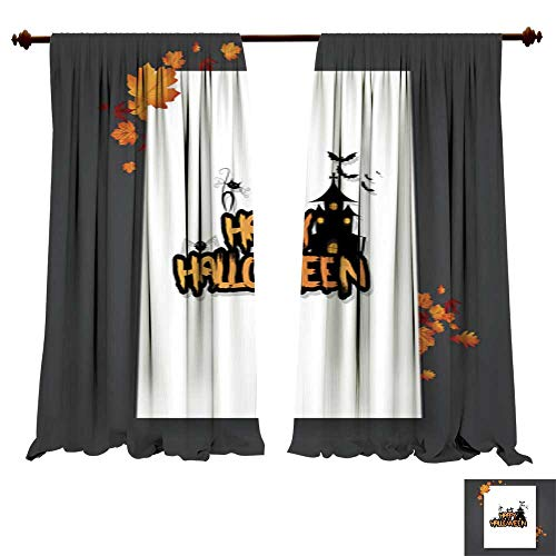Window Curtains for Bedroom Halloween Vector Poster Flyer with Autumn Leaves and Happy Halloween Lettering with Grungy Font 1 Thermal Insulating,Panels,Drapes for $<!--$67.70-->