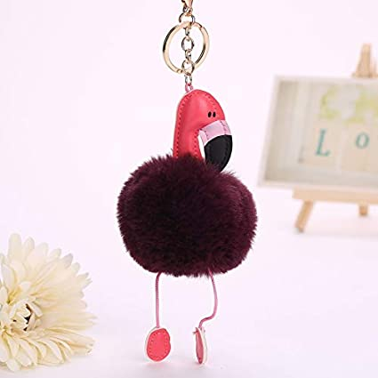 Amazon.com: Key Chains - Fluffy Flamingo Keychain Rabbit Key ...