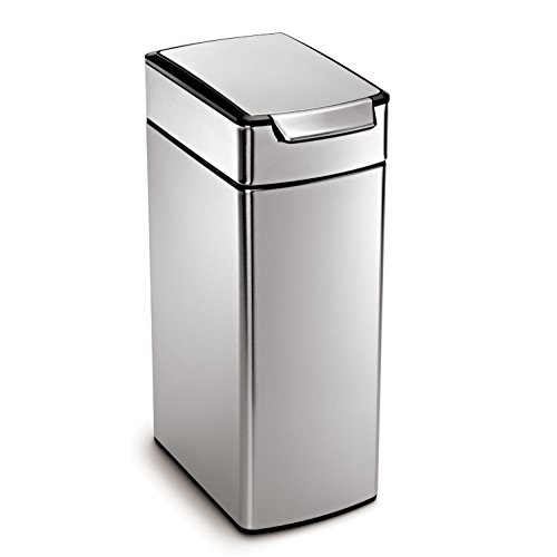 simplehuman 40L Slim Touch-Bar Stainless Steel Trash Can