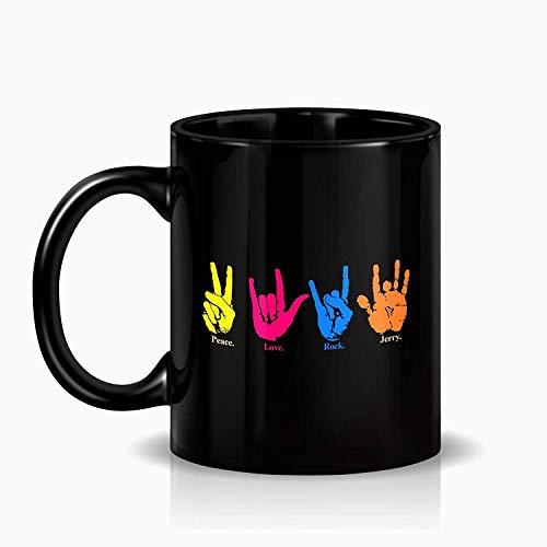 CASURI - Peace Love Rock Coffee Mug - Jerry Handprint - Sign Language Mug - Black Ceramic Mug - For Grateful Dead Fans MUG 15ozChristmas, Birthday, Valentines, Mother's Day