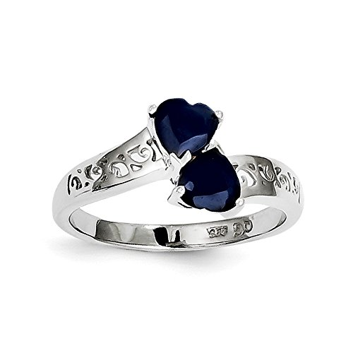 (925 Sterling Silver Dark Sapphire Heart Band Ring Size 7.00 S/love Gemstone Fine Jewelry Gifts For Women For Her)