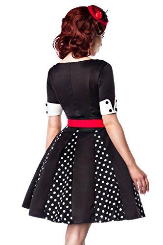 mit Kleid Belsira A50022 abgesetzte Ärmel Größe Godets Petticoat Ausschnitt abgesetzten farblich kurze Retro mit Manschetten V 36;Farbe farblich schwarz Kleid wIIB5rq