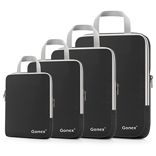 Gonex Compression Packing Cubes Set, Expandable Packing Organizers 4pcs(Black)