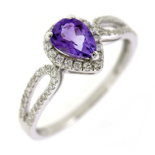 Sterling Silver Pear Cut Natural Amethyst Ring (2/3 CT.T.W) in Heart Shape (7.5) ()